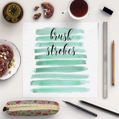 FREE WATERCOLOR BRUSH CLIP ART – MINT STROKES #brush #strokes #freebies #clipart #free #watercolor