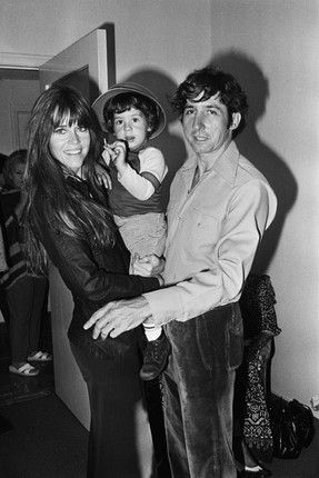 Jane Fonda n L.A. with her husband Tom Hayden and their son, Troy Garity, 1975.