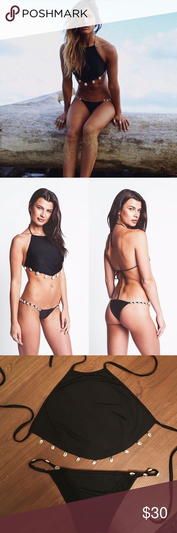 Black seashell bikini brand new never worn Black halter bikini Size medium top would A/B or maybe even a C. Bottoms are size medium would fit about a 25-26 but would look just as cute with plain black bottoms😝 no brand ASOS Swim Bikinis