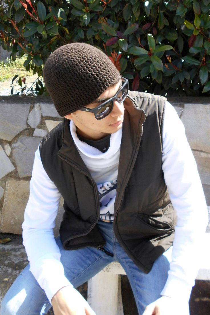 CASHMERE mens hat, coffee brown crocheted cap gift for men of style mens  chemo cap cashmere skull cap for sensitive skin, gift for teen boy by LAlabastroCreazioni on Etsy