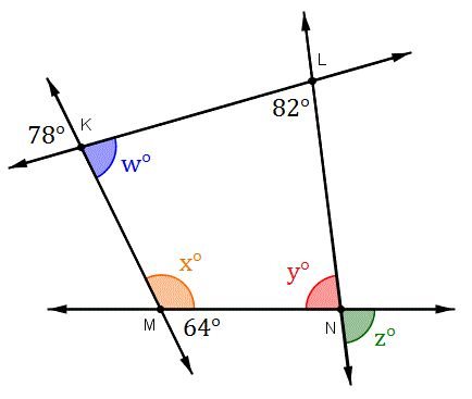 A sample problem finding an unknown angle using the
