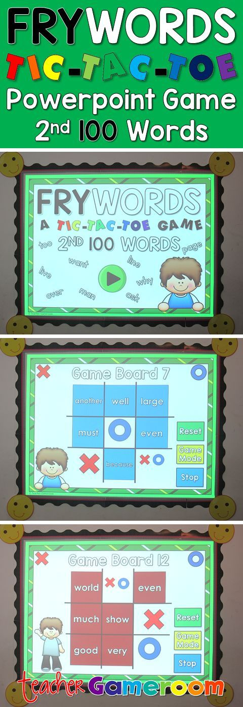 """In this tic-tac-toe powerpoint game, students read the 2nd 100 fry word and place their """"X"""" or """"O"""". There are 12 game boards, each with 9 fry words from the 2nd 100 fry words set. Great for Kindergarten, 1st, and 2nd grade. Common Core aligned!"""