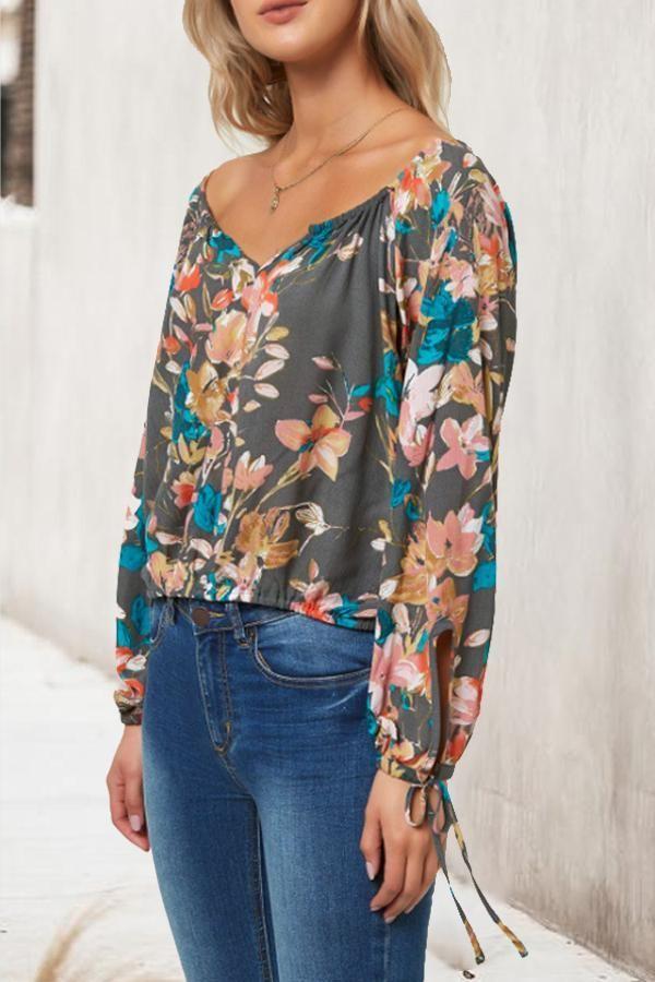 V Neck Slit Pocket Print blouse for work blouse for work office wear blouse for …