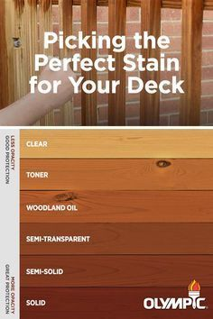 When it comes to picking a stain for your deck, choosing a color is important. Learn how select the best stain for the type of wood you are staining.