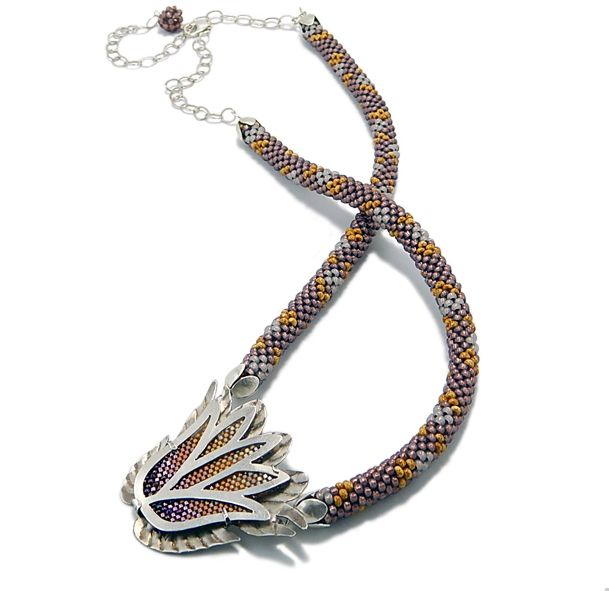 Sterling Silver and seed bead tribute to nature. All elements are handmade by the artist.