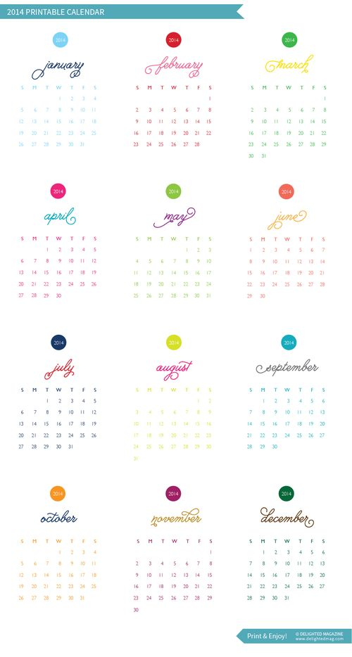 Free Printable: 2014 Calendar