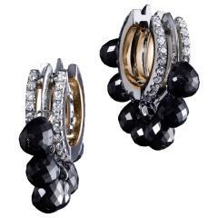 Black Diamond Briolette Hoop Earrings