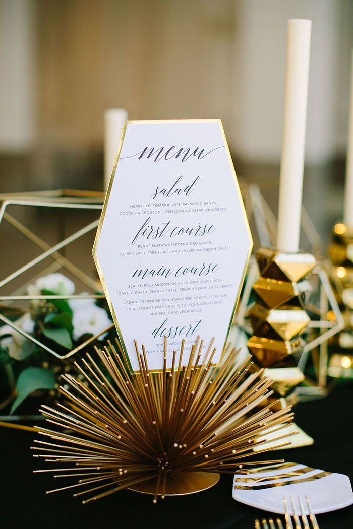 Contemporary Geomentirc Mint-Wedding | Modern Glam Wedding Menu Card