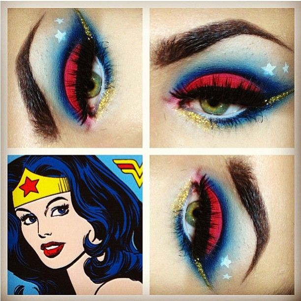 Loving Trey's Wonder Woman inspired look using #Sugarpill. What alluring eyes he has! Check out @Trey Saxon Instagram to see more of his gorgeous work. #eotd #makeupart #wonderwoman