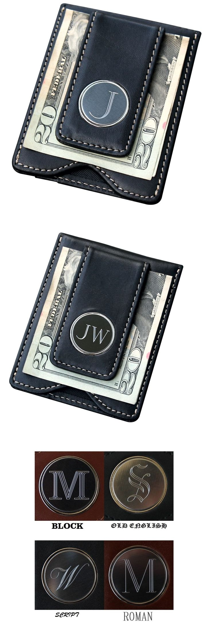 Custom Personalized Black Leather Money Clip Wallet Combo