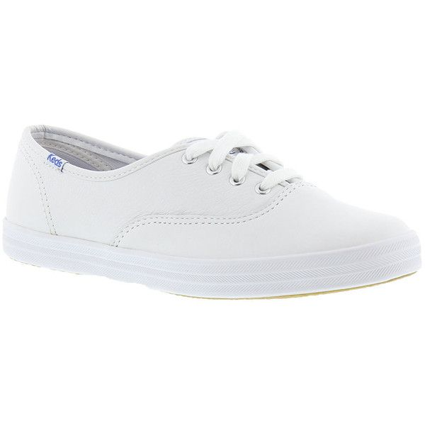 Keds Champion Leather Oxford Women's White Oxford 4.5 B ($50) ❤ liked on Polyvore featuring shoes, white, white leather shoes, oxford shoes, keds oxford, genuine leather upper shoes and keds