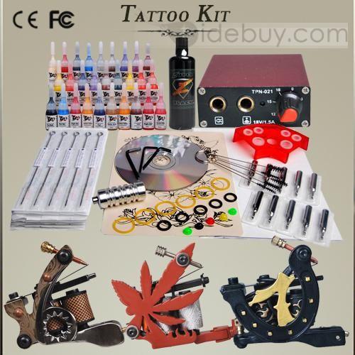 Professional Tattoo Kit with 3 Tattoo Machine 28 Ink + Super Black Ink Mini Power Set DIY-152