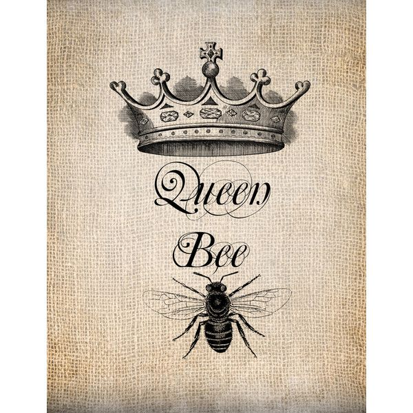 Antique Queen Bee Crown Script Illustration Digital Download For GBP073