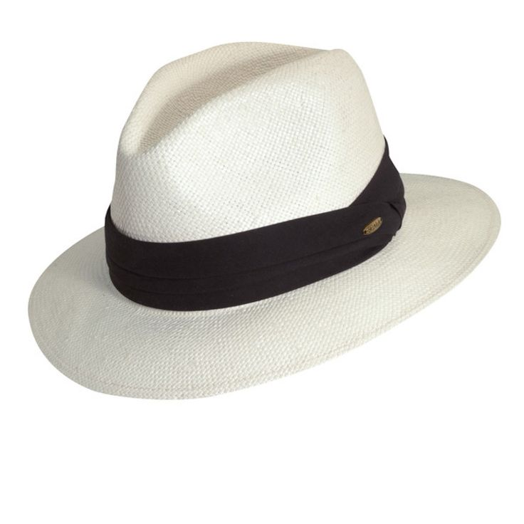 Scala Hannibal - Straw Fedora Hat $39.00   Coordinate your favorite look with a nostalgic straw fedora for a knockout summer outfit. The Hannibal, from Scala's Fashion Fedora Collection, is a million dollar hat with a budget-friendly price tag. Two sizes fit most, the Hannibal has a three pleat cotton hat band, elastic sweatband, and Scala hat pin. Its relaxed brim gives it a nice casual feel.