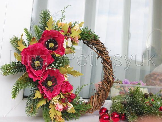Christmas Wreath for front door made of vine. by WorkshopByInnaSt