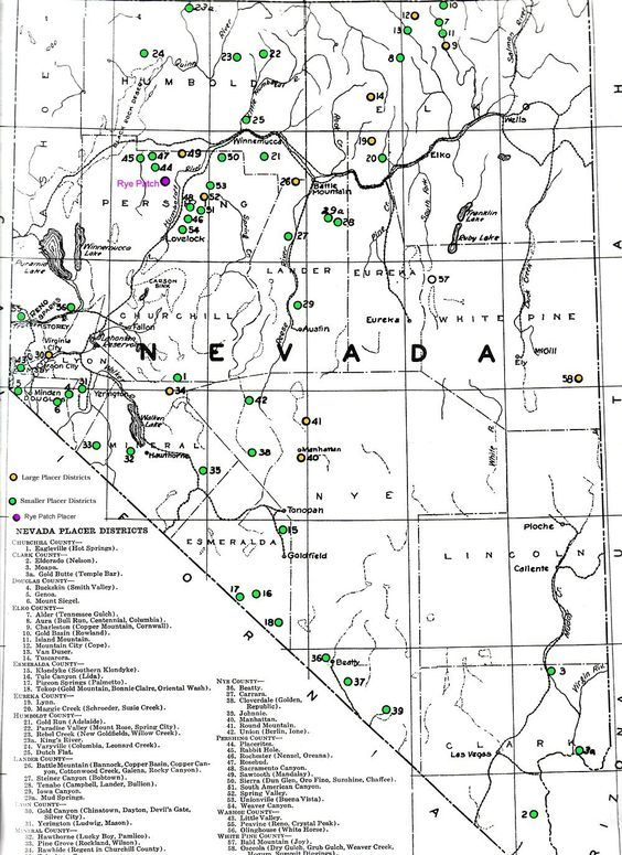 Northern Nevada Placer Gold Districts and Prospecting areas