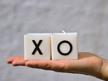 XO candles, White Square Rapeseed Wax Candles,