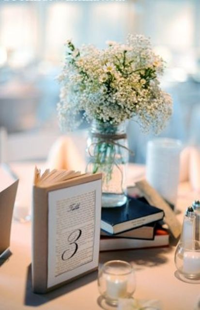 Simple And Cute Book Wedding Centerpieces                                                                                                                                                      More