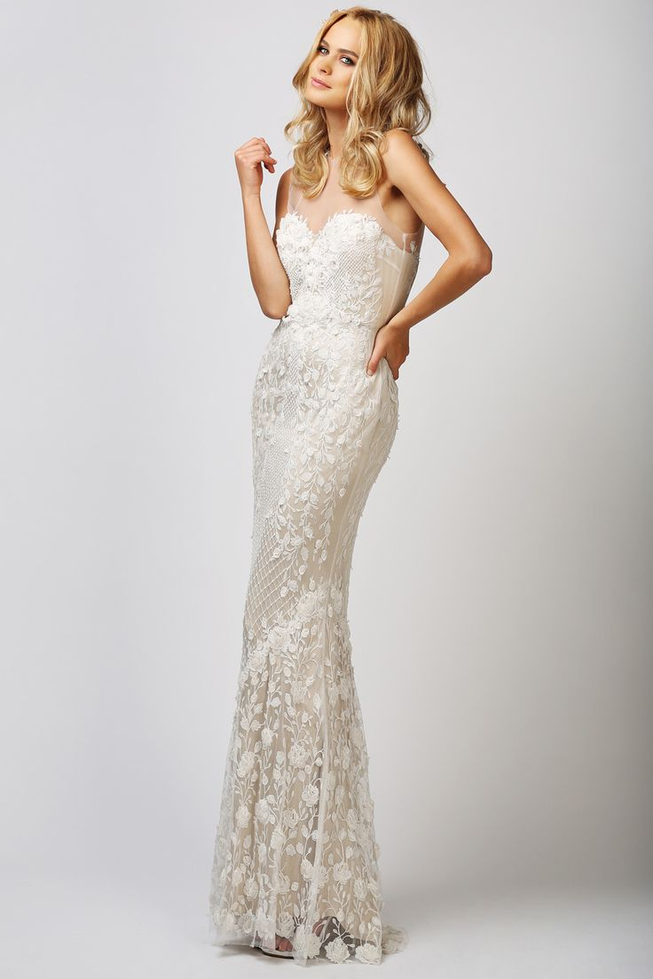 BABUSHKA BALLERINA   Catherine Deane Ashton Gown   Illustion neckline, Two toned lace bridal gown   SHOP ONLINE www.thebabushkaballerina.com.au