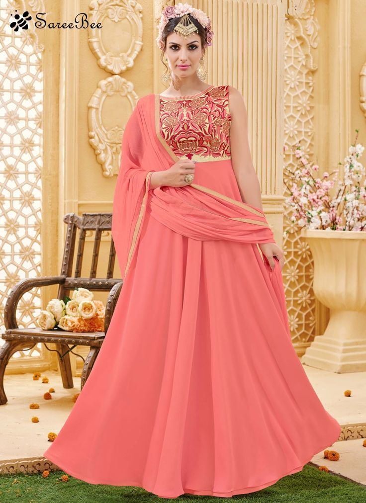 Make the heads flip when you costume up in this kind of a attractive peach faux georgette floor length anarkali suit. The incredible dress creates a dramatic canvas with amazing embroidered, lace and ...