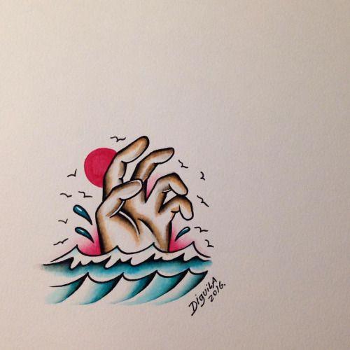 Muito cuidado neste verão, mar não tem cabelo. #tattoo #classictattoo #vilavelhatattoo #espiritosantotattoo #tattoocapixaba #diguila #marabertotattoo (at Praia De Itapoã,Vila Velha-E.S)