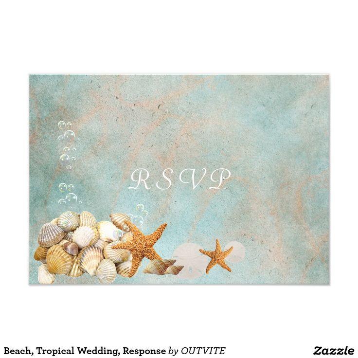 blank beach bridal shower invitations%0A Beach  Tropical Wedding  Response
