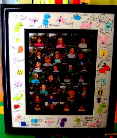adorable finger print art from the whole class, or make a simple fingerprint card from your child.