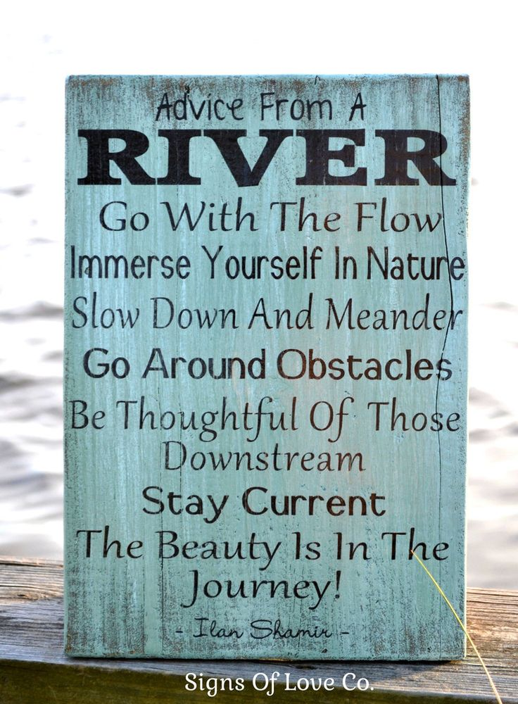 Advice From A River Wall Art  River House Decor Signs Painted Rustic Wood Plaque Poem Inspirational Gifts