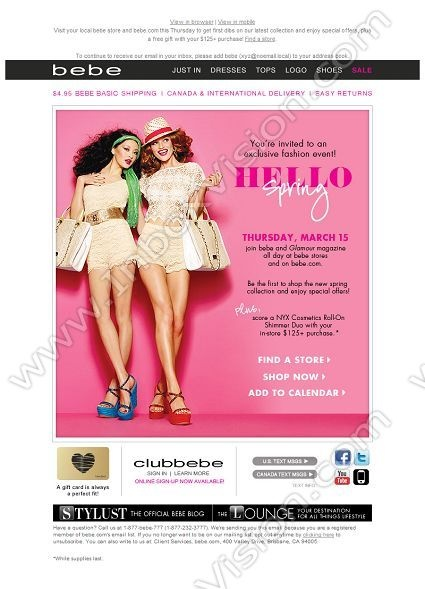 Company: Bebe Stores, Inc.   Subject: VIP INVITE: Join us Thursday for our Hello Spring event!         INBOXVISION, a global email gallery/database of 1.5 million B2C and B2B promotional email/newsletter templates, provides email design ideas and email marketing intelligence. www.inboxvision.c... #EmailMarketing  #DigitalMarketing  #EmailDesign  #EmailTemplate  #InboxVision  #SocialMedia  #EmailNewsletters