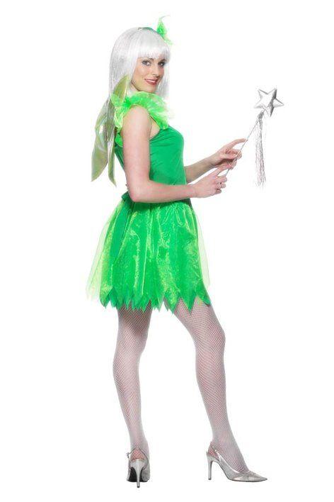 Her er den grønne fe. Kostumet er en Grøn kjole med vinger og hovedbeklædning. Størrelser: M