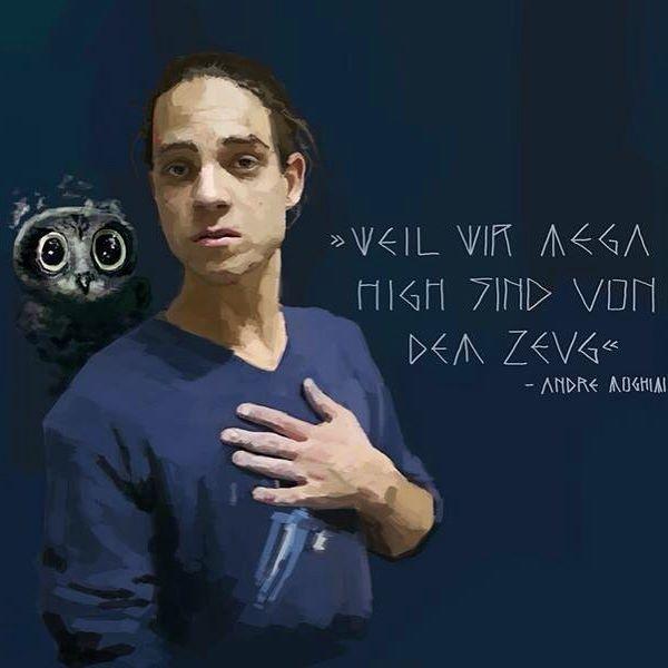 »Weil wir mega High sind von dem Zeug« by Asharpfeather  @jakojokomo von Fewjar  https://www.facebook.com/asharpfeather  #face #jako #portait #portait #fewjar #berlin #youtube #painting #digitalart #digital #done #high #quote #art #artist #music #musician #musicislife #owl #birl #drawing #animal #hand #rough