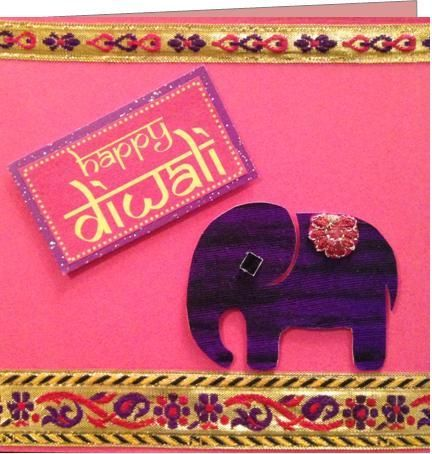 zari-border-diwali-card - 15+ Diwali card making ideas for kids - kandils, lamps, crackers, lanterns. easy to make at Home with kids and makes a great handmade gift