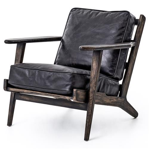 Rider Mid Century Modern Oak Black Leather Armchair