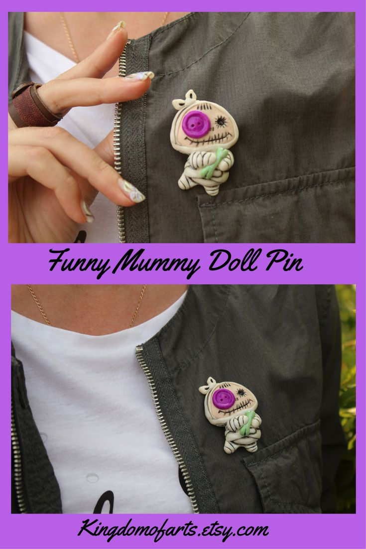 f you love something unusual, Mummy-doll pin will be a great addition to your image. It fits perfectly with any clothes, bags, scarfs, hats, and jeans. Creepy cute brooch is made of polymer clay, pin used as the clasp.~      Jewelry Brooches, Pins & Clips Pins & Badges Mummy Halloween gift idea Adorable pin Boo jewelry Creepy cute pin Halloween brooch Funny brooch Strange pin Cute monster pin Mummy pin Strange dolls pin Raggedy mummy  Funny brooch  Cute Halloween pin Strange jewelry Baby…