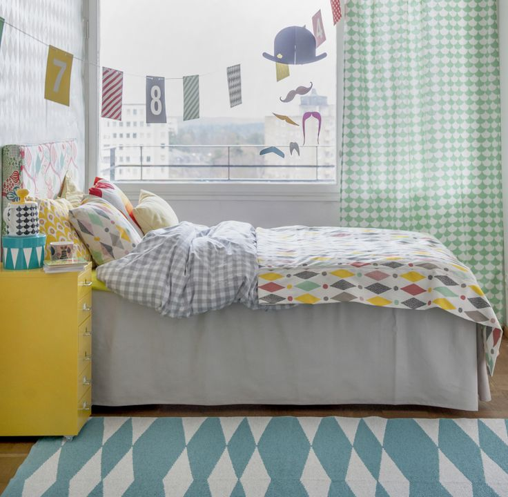 Littlephant fabrics coming to Bemz in March 2014. Abelvär headboard cover in Saga Forest Red/White, Designer: Littlephant. Bed skirt with pleats in Paler Shade of Grey Panama Cotton. Bed spread in Harlequin White/Multi, Designer: Littlephant. Cushion covers in Harlequin White/Multi, Circus White/Yellow, Designer: Littlephant, Vanilla Yellow Belgian Linen Blend, Real Red Kavalkad, Designer: by Strömma. Curtains by Bemz, fabric: Big Waves White/Aqua, Designer: Littlephant. www.bemz.com