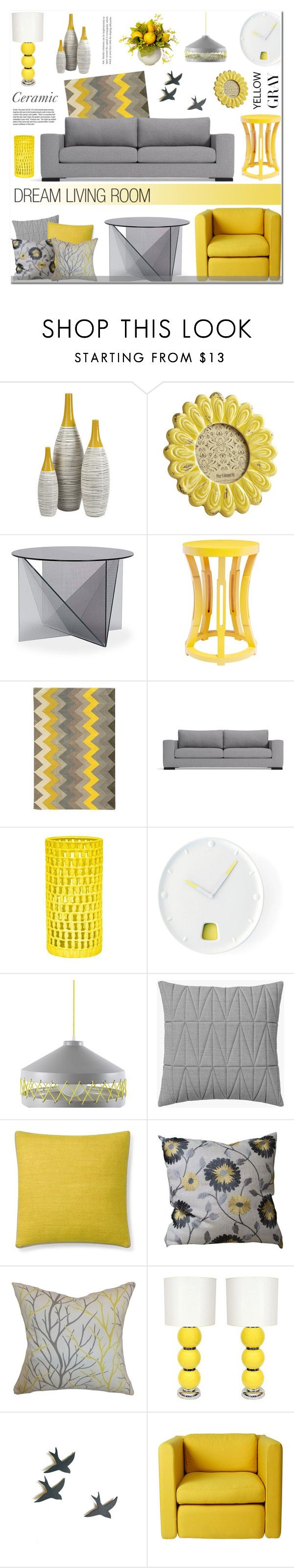 """Gray & Yellow - Ceramic"" by anyasdesigns on Polyvore featuring interior, interiors, interior design, maison, home decor, interior decorating, Dot & Bo, Pier 1 Imports, Tom Dixon et Bungalow 5"