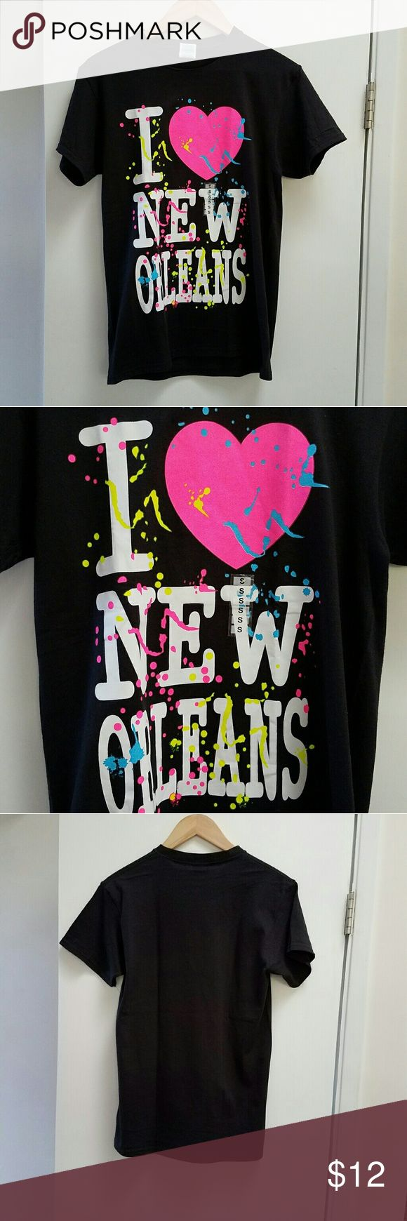 I Heart New Orleans 80s Tee T-Shirt Mardi Gras 80s vibe I heart NOLA Tee. Neon colors. Perfect for Mardi Gras or any time you're feeling festive. Brand new, with size sticker still attached. No hang tags. 100% Preshrunk cotton. Sz S. Not a fitted tee. Tops Tees - Short Sleeve