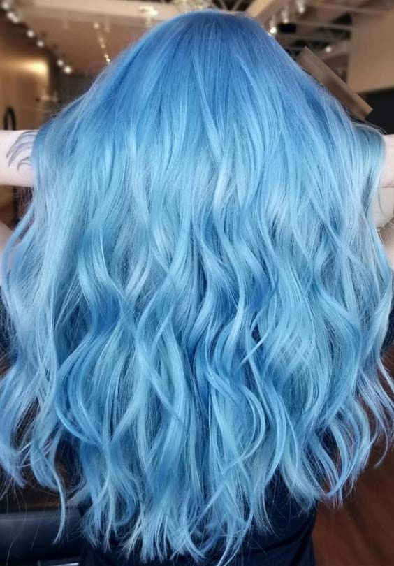 gorgeous bright blue hair color