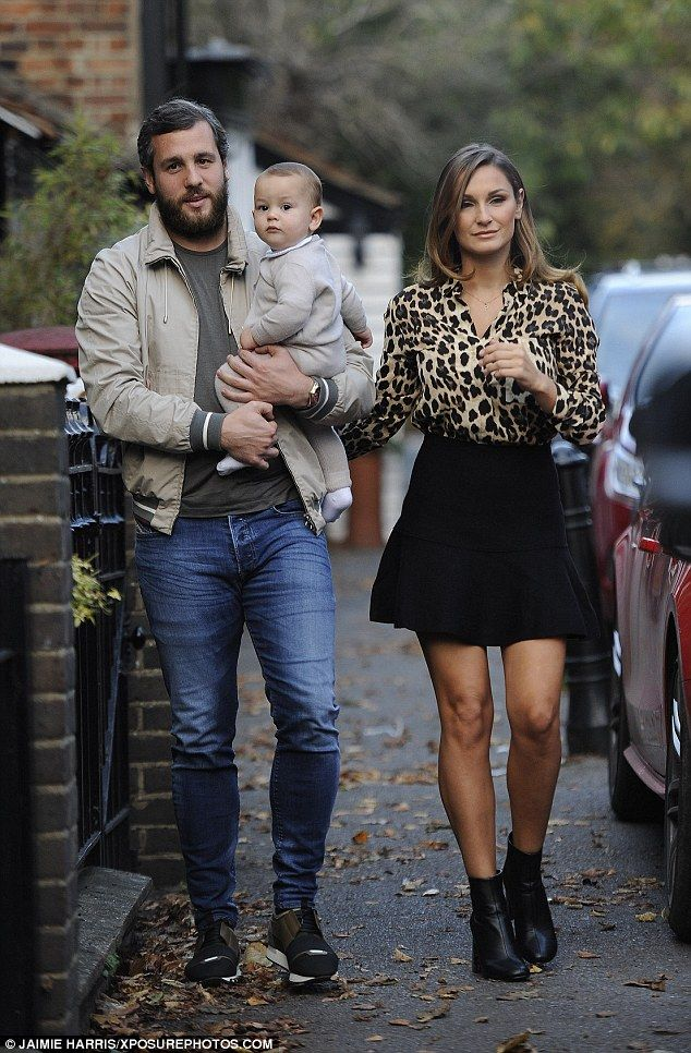 Family outing: Sam Faiers was joined by the men in her life - her partner Paul Knightley and their cherubic 10-month-old son Paul Tony - as filming continued in Essex for the ITVBe series on Wednesday