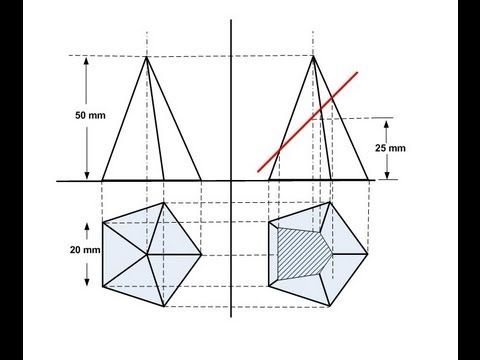 Section of solids - Pentagon Pyramid - YouTube