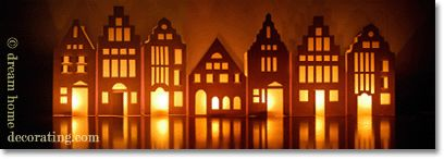 Great tutorial to make your own village... decorate as you wish, place a LED votive behind it, turn down the lights and gorgeous!!