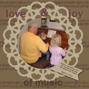 Love & Joy of Music Scrapbook Page made with Stampin' Up!'s My Digital Studio Software