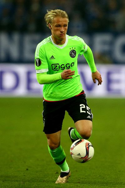 Kasper Dolberg of Amsterdam runs with the ball during the UEFA Europa League quarter final second leg match between FC Schalke 04 and Ajax Amsterdam at Veltins-Arena on April 20, 2017 in Gelsenkirchen, Germany.
