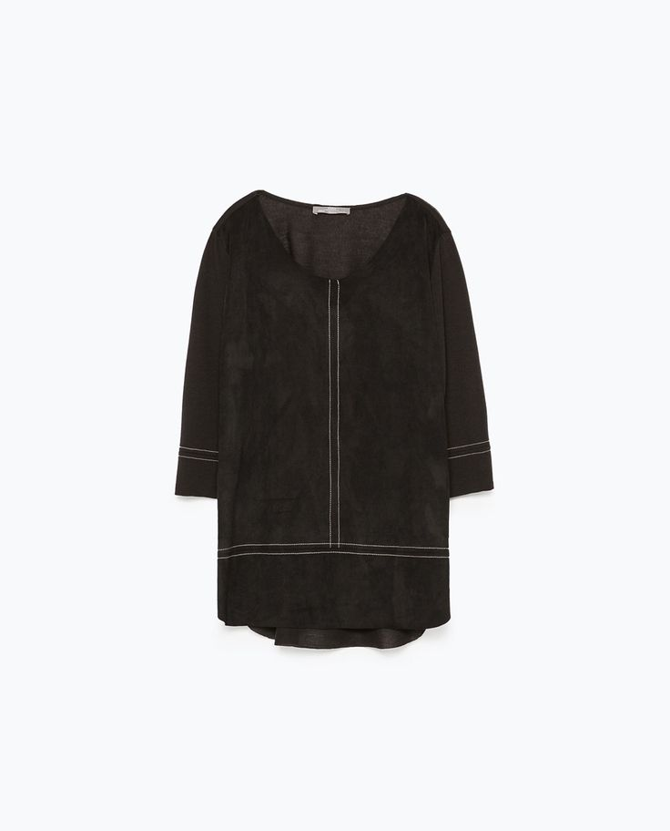 Image 4 of TOPSTITCHED FAUX SUEDE TOP from Zara