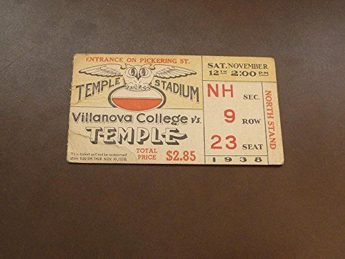 1938 VILLANOVA AT TEMPLE COLLEGE FOOTBALL TICKET *** Click image to review more details.