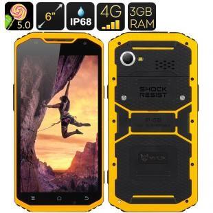 MFOX A10 Pro Military Standard Smartphone - IP68, 6 Inch Display, Octa Core 1.7GHz CPU, 3GB RAM, MIL-STD-810G , 4G (Yellow)