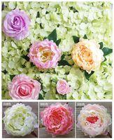 Diy multicolor da flor da peônia heads artificial buquê de flores do casamento chumbo estrada fundo decoração da parede do hotel