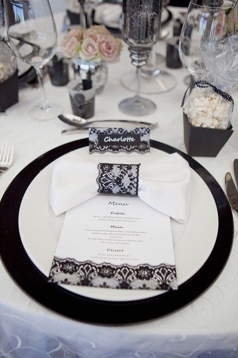 56 best Black And White Wedding Table Settings images on Pinterest ...