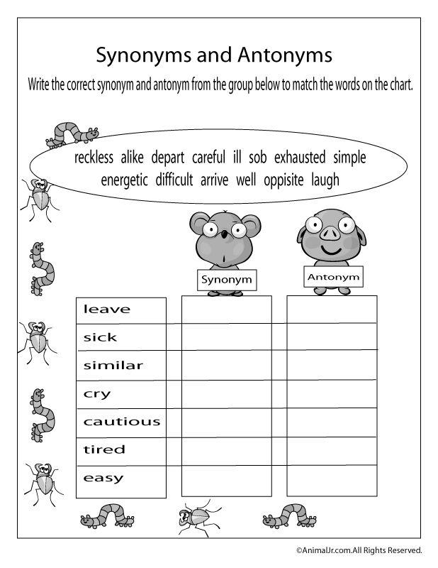 Spring Worksheets Spring Antonyms And Synonyms Worksheet