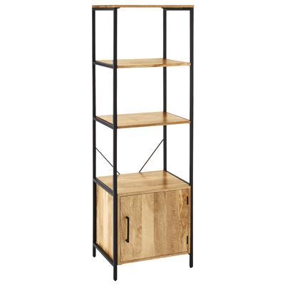"""Named for the Hindi word meaning """"strength,"""" our Takat bookcase makes a strong statement indeed. Built on a sturdy iron frame, it has three shelves and a cabinet made of bold-grained mango wood. Exotic-looking, yet the ultimate in practicality, it's crafted in India, at home anywhere."""